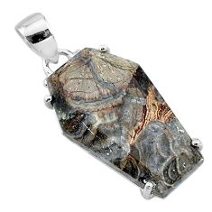 13.08cts coffin natural brown mushroom rhyolite 925 silver pendant t11864
