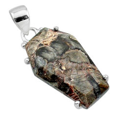 13.69cts coffin natural brown mushroom rhyolite 925 silver pendant t11867