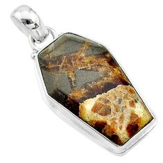 14.57cts coffin natural brown septarian gonads 925 silver pendant t11783