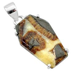 14.08cts coffin natural brown septarian gonads fancy 925 silver pendant t12025