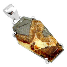 12.96cts coffin natural brown septarian gonads fancy 925 silver pendant t12026