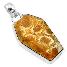 16.23cts coffin natural fossil coral petoskey stone 925 silver pendant t11787