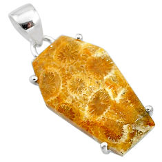 14.08cts coffin natural fossil coral petoskey stone 925 silver pendant t11981