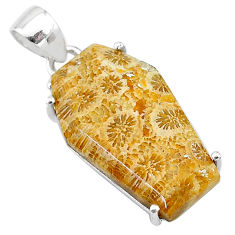 13.69cts coffin natural fossil coral petoskey stone 925 silver pendant t11986