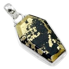 18.73cts coffin natural golden pyrite in magnetite 925 silver pendant t11789