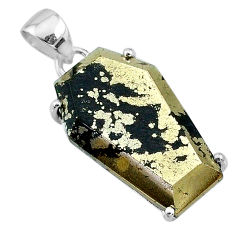 18.14cts coffin natural golden pyrite in magnetite 925 silver pendant t11922