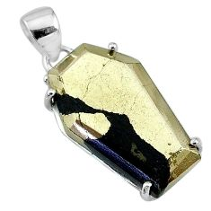 17.56cts coffin natural golden pyrite in magnetite 925 silver pendant t11923