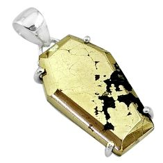 17.56cts coffin natural golden pyrite in magnetite 925 silver pendant t11925