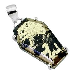 17.56cts coffin natural golden pyrite in magnetite 925 silver pendant t11933