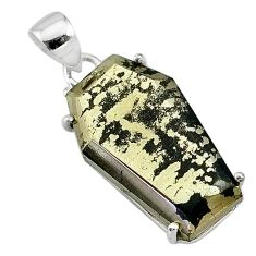 18.14cts coffin natural golden pyrite in magnetite 925 silver pendant t11935