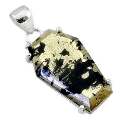 16.88cts coffin natural golden pyrite in magnetite 925 silver pendant t11937