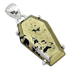 18.68cts coffin natural golden pyrite in magnetite 925 silver pendant t11939