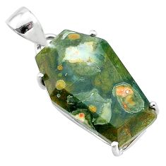 12.54cts coffin natural green rainforest rhyolite jasper silver pendant t12058