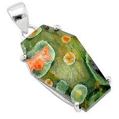 11.96cts coffin natural green rainforest rhyolite jasper silver pendant t12059