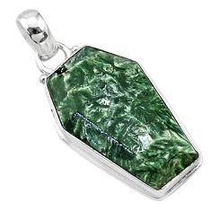 16.18cts coffin natural green seraphinite (russian) 925 silver pendant t11736