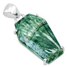 12.94cts coffin natural green seraphinite (russian) 925 silver pendant t11952