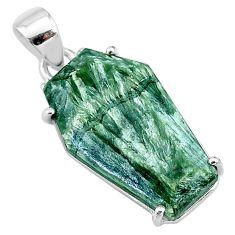 12.38cts coffin natural green seraphinite (russian) 925 silver pendant t11953