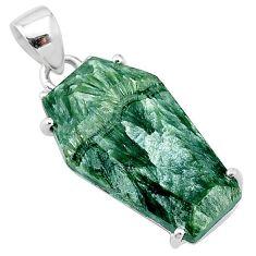 12.54cts coffin natural green seraphinite (russian) 925 silver pendant t11955