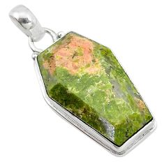 16.23cts coffin natural green unakite 925 sterling silver pendant jewelry t11756