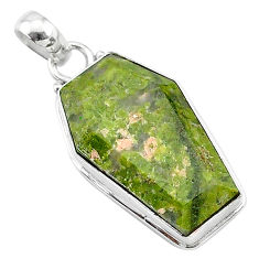 16.70cts coffin natural green unakite 925 sterling silver pendant jewelry t11759