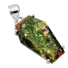 12.54cts coffin natural green unakite 925 sterling silver pendant jewelry t11907