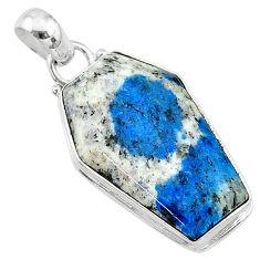 15.22cts coffin natural k2 blue (azurite in quartz) 925 silver pendant t11723