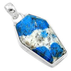 15.58cts coffin natural k2 blue (azurite in quartz) 925 silver pendant t11734