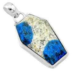 15.70cts coffin natural k2 blue (azurite in quartz) 925 silver pendant t11737
