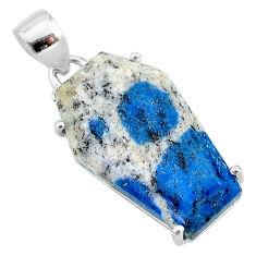 13.64cts coffin natural k2 blue (azurite in quartz) 925 silver pendant t12038