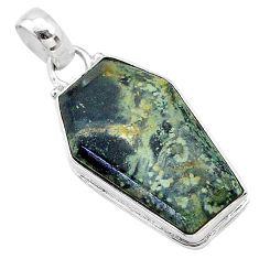 15.67cts coffin natural kambaba jasper (stromatolites) 925 silver pendant t11754