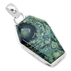 16.70cts coffin natural kambaba jasper (stromatolites) 925 silver pendant t11755