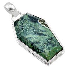 17.22cts coffin natural kambaba jasper (stromatolites) 925 silver pendant t11758