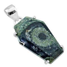 14.67cts coffin natural kambaba jasper (stromatolites) 925 silver pendant t11869