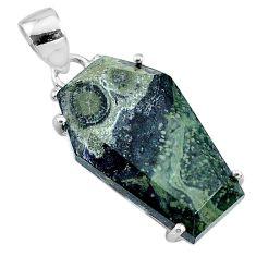 14.06cts coffin natural kambaba jasper (stromatolites) 925 silver pendant t11873