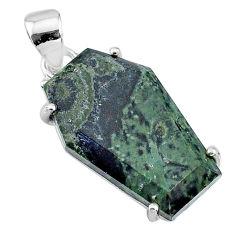 14.25cts coffin natural kambaba jasper (stromatolites) 925 silver pendant t11876