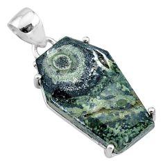 14.25cts coffin natural kambaba jasper (stromatolites) 925 silver pendant t11877