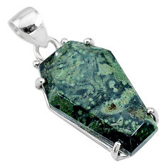 13.69cts coffin natural kambaba jasper (stromatolites) 925 silver pendant t11878