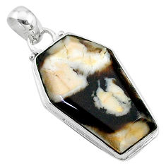 15.65cts coffin natural peanut petrified wood fossil 925 silver pendant t11722