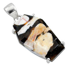 12.96cts coffin natural peanut petrified wood fossil 925 silver pendant t11911