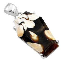 12.91cts coffin natural peanut petrified wood fossil silver pendant t11903