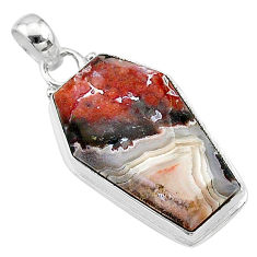 15.65cts coffin natural pink sonoran dendritic rhyolite silver pendant t11781