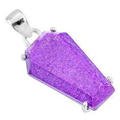 12.71cts coffin natural purple purpurite stichtite 925 silver pendant r81969