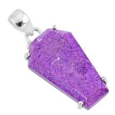 12.66cts coffin natural purple purpurite stichtite 925 silver pendant r81970