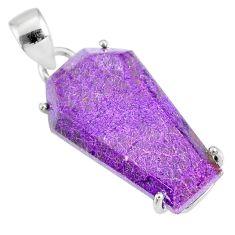 12.66cts coffin natural purple purpurite stichtite 925 silver pendant r81994