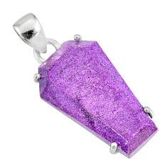 12.19cts coffin natural purple purpurite stichtite 925 silver pendant r81995