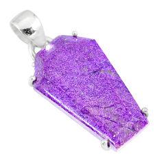 13.05cts coffin natural purple purpurite stichtite 925 silver pendant r81996