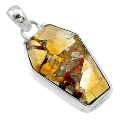 14.07cts coffin natural yellow brecciated mookaite 925 silver pendant t11802