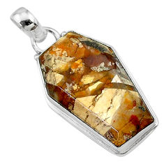 15.67cts coffin natural yellow brecciated mookaite 925 silver pendant t11805