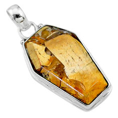 15.65cts coffin natural yellow brecciated mookaite 925 silver pendant t11812