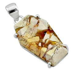 13.13cts coffin natural yellow brecciated mookaite 925 silver pendant t11881